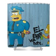 Bart Was Here Shower Curtain