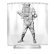 Baseball Catcher Cage - Restored Patent Drawing For The 1904 James Edward Bennett Catcher Cage Shower Curtain