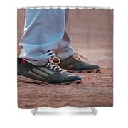 Baseball Cleats In The Dirt Shower Curtain by Kelly Hazel