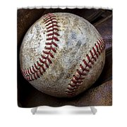 Baseball Close Up Shower Curtain