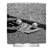 Baseball Game In Black And White Shower Curtain