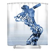 Baseball Girl-blue Shower Curtain