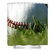 Baseball In Grass Shower Curtain