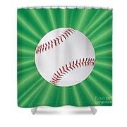 Baseball Over Green Shower Curtain