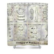 Baseball Patent History Shower Curtain
