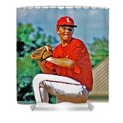 Baseball Pitcher Shower Curtain by Marilyn Holkham