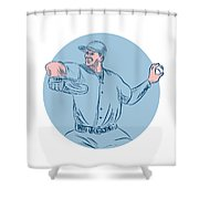Baseball Pitcher Throwing Ball Circle Drawing Shower Curtain