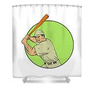 Baseball Player Batting Stance Circle Drawing Shower Curtain
