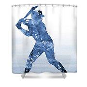 Baseball Player-blue Shower Curtain