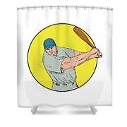 Baseball Player Swinging Bat Drawing Shower Curtain