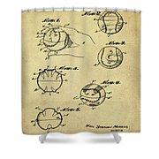 Baseball Training Device Patent 1961 Sepia Shower Curtain
