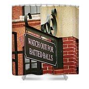 Baseball Warning Shower Curtain