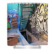 Basement Apartment In Graffiti Alley Shower Curtain