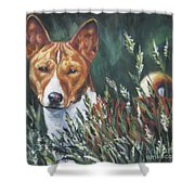Basenji In Grass Shower Curtain