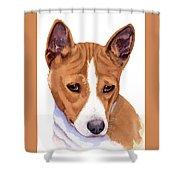 Basenji Sweetness Watercolor Shower Curtain