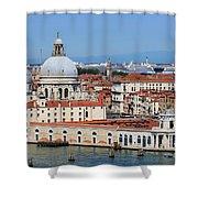 Basilica Della Salute And Punta Della Dogana In Venice Italy Shower Curtain
