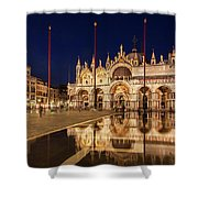 Basilica San Marco Reflections At Night - Venice, Italy Shower Curtain