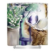 Basket And Bottle Shower Curtain