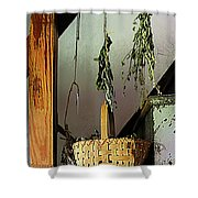 Basket And Drying Herbs Shower Curtain