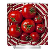 Basket Full Of Red Tomatoes  Shower Curtain