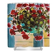 Basket Of Geraniums Shower Curtain