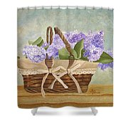 Basket Of Lilacs Shower Curtain