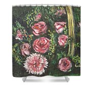 Basket Of Pink Flowers Shower Curtain