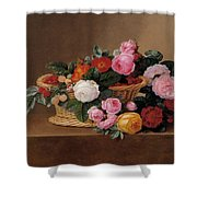 Basket Of Roses Shower Curtain