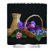 Basket With Astern Shower Curtain