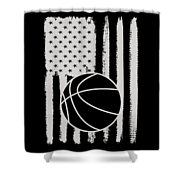 Basketball American Flag Usa Apparel Shower Curtain