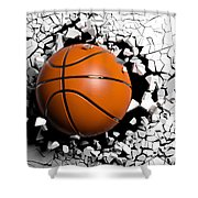 Basketball Ball Breaking Forcibly Through A White Wall. 3d Illustration. Shower Curtain