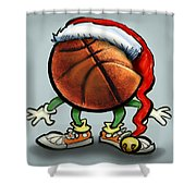 Basketball Christmas Shower Curtain