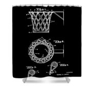 Basketball Net Patent 1951 In Black Shower Curtain