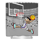 Basketball Player Jumping And Flying To Shoot The Ball In The Hoop Shower Curtain
