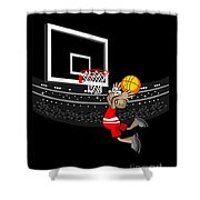 Basketball Player Jumping In The Stadium And Flying To Shoot The Ball In The Hoop Shower Curtain