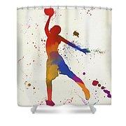 Basketball Player Paint Splatter Shower Curtain