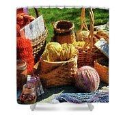 Baskets Of Yarn At Flea Market Shower Curtain