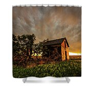 Basking In The Glow - Old Barn At Sunset In Oklahoma Panhandle Shower Curtain