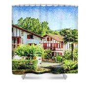 Basque Houses In Ainhoa 2- Vintage Version Shower Curtain