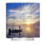 Bass Fisherman At Dawn, Oregon Cascades Shower Curtain