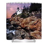 Bass Harbor Head Lighthouse In Maine Shower Curtain by Skip Willits