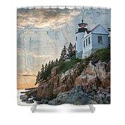 Bass Harbor Lighthouse On Maine Nautical Chart Shower Curtain