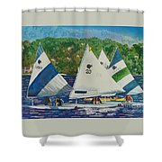Bass Lake Races  Shower Curtain