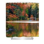 Pond In Autumn Shower Curtain
