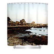 Bass Rocks Sunset Shower Curtain