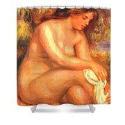 Bather Drying Her Leg Shower Curtain