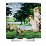 Bathers Male And Female Shower Curtain