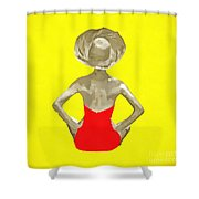Bathing Beauty Red Suit Painting Shower Curtain