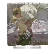 Bathing On The Beach Shower Curtain