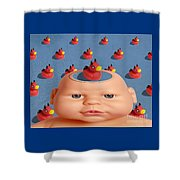 Bathing With Devil Duck Shower Curtain